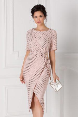Rochie midi roz de ocazie eleganta cu aspect petrecut si croiala asimetrica Sany accesorizata cu o catarama in talie