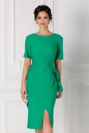 Rochie midi verde de ocazie cu aspect petrecut Sany si croiala asimetrica