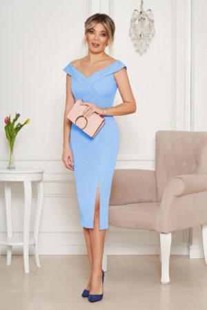 Rochie midi eleganta albastra de ocazie tip creion cu crapatura pe picior si umerii goi StarShinerS