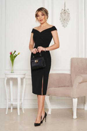 Rochie midi eleganta neagra de ocazie tip creion cu crapatura pe picior si umerii goi StarShinerS