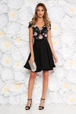 Rochie de ocazie neagra din voal diafan cu broderie colorata si aplicatii florale cu efect 3d StarShinerS