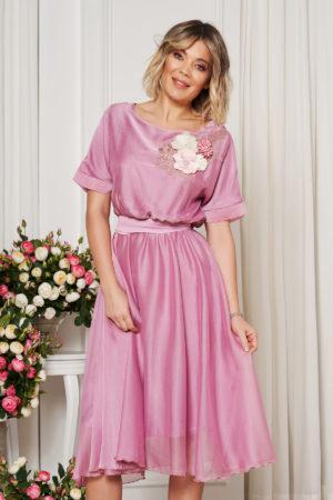 Rochie midi roz eleganta de ocazie cu croiala in clos si prevazuta cu elastic in talie StarShinerS
