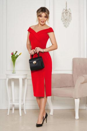 Rochie midi eleganta rosie de ocazie tip creion cu crapatura pe picior si umerii goi StarShinerS