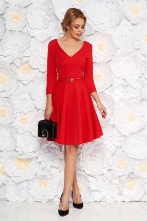 Rochie de ocazie rosie eleganta in clos cu curea subtire in talie si spatele gol StarShinerS