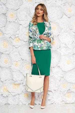 Rochie midi verde office eleganta tip creion din stofa elastica de calitate intr-o croiala mulata pe corp StarShinerS