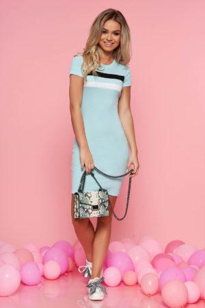 Rochie ieftina albastru deschis casual scurta de zi mulata pe corp realizata din bumbac cu striatii SunShine