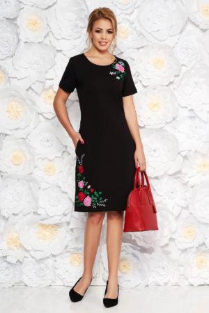 Rochie midi dreapta neagra de zi cu broderie florala colorata realizata din bumbac fin elegant SunShine