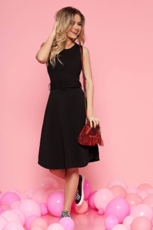 Rochie de zi neagra pana la genunchi cu design minimalist si accesorizata cu curea lata in talie SunShine