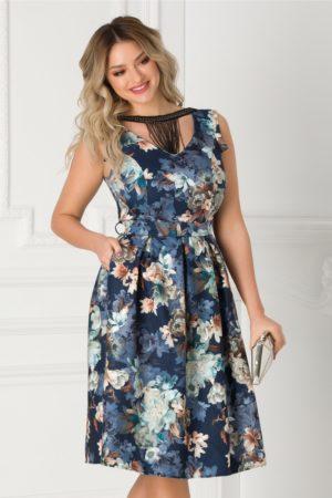 Rochie de ocazie bleumarin in clos cu imprimeu floral si aplicatie la decolteu Susan pentru ocazii speciale
