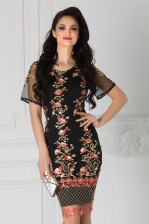 Rochie de nunta midi neagra eleganta cu broderie aurie si margelute rosii Taylor
