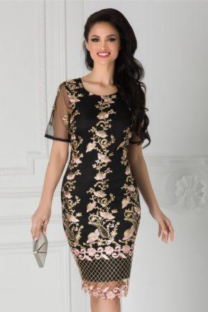 Rochie de nunta midi neagra eleganta cu broderie aurie si margelute roz Taylor