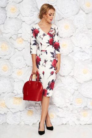 Rochie midi eleganta pana la genunchi alba cu imprimeuri florale colorate si maneci trei sferturi