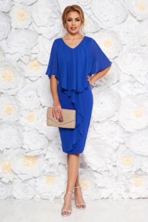 Rochie midi albastra de nunta accesorizata cu suprapunere vaporoasa din voal de matase pentru femei plinute