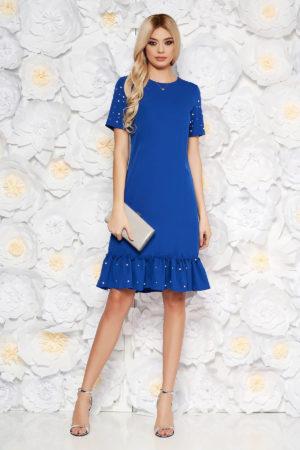 Rochie dreapta albastra eleganta cu maneci scurte accesorizata cu margele