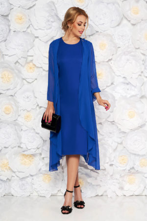 Rochie de seara albastra eleganta midi fara maneci prevazuta cu o capa din voal pentru femei plinute