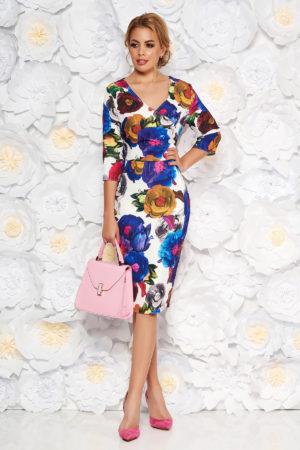 Rochie midi eleganta pana la genunchi albastra cu imprimeuri florale colorate si maneci trei sferturi