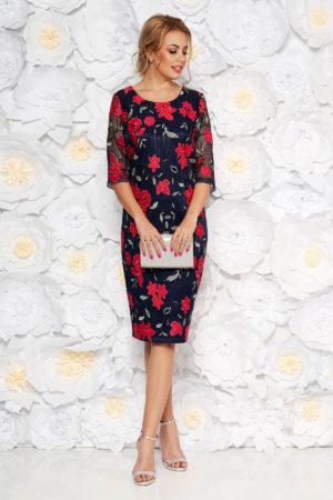 Rochie bleumarin de ocazie cu insertii florale colorate si maneci transparente pentru femei plinute
