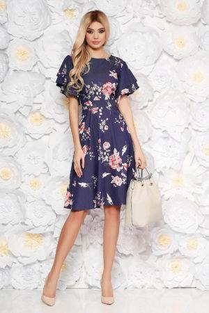 Rochie de zi midi bleumarin cu imprimeuri florale din material vaporos si inchidere cu fermoar