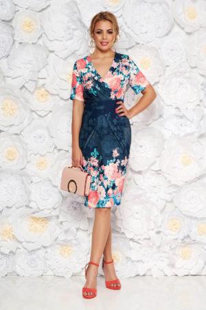 Rochie tip creion eleganta bleumarin cu imprimeu floral cu decolteu in v pentru femei plinute