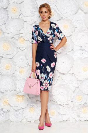Rochie eleganta tip creion bleumarin cu imprimeuri florale si decolteu in v pentru femei plinute