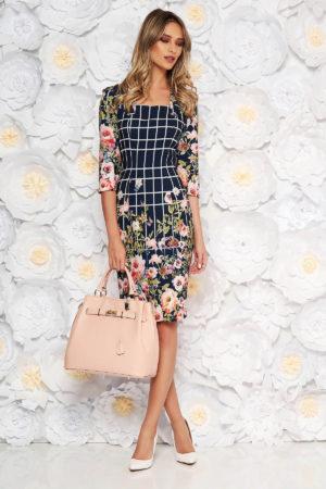 Rochie bleumarin cu imprimeu floral de primavara intr-o croiala eleganta tip creion