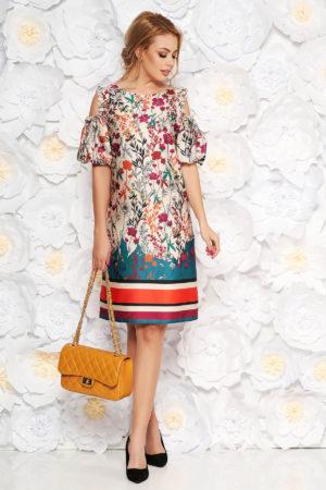 Rochie eleganta crem din material satinat cu umeri decupati si un print floral proaspat