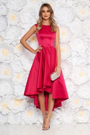 Rochie eleganta fucsia asimetrica din material satinat cu croiala moderna fara maneci perfecta pentru banchet sau bal