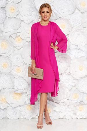 Rochie de seara fucsia eleganta midi fara maneci prevazuta cu o capa din voal pentru femei plinute
