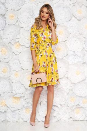 Rochie de ocazie galbena cu imprimeu floral de primavara StarShinerS intr-o croiala vaporoasa in clos