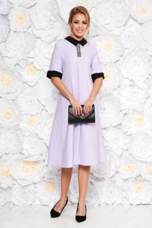 Rochie midi lila eleganta midi cu croi larg si aplicatii cu margele pentru femei plinute