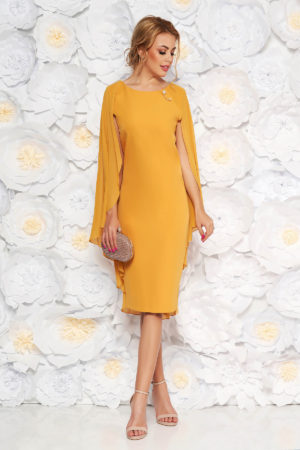 Rochie de seara galben mustar midi pana la genunchi din stofa subtire cu suprapunere din voal lejer