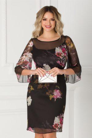 Rochie de ocazie neagra cu imprimeu floral si maneci evazate la baza pentru femei plinute Ginette