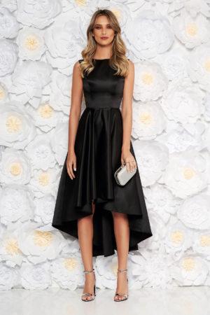 Rochie eleganta neagra asimetrica din material satinat cu croiala moderna fara maneci perfecta pentru banchet sau bal