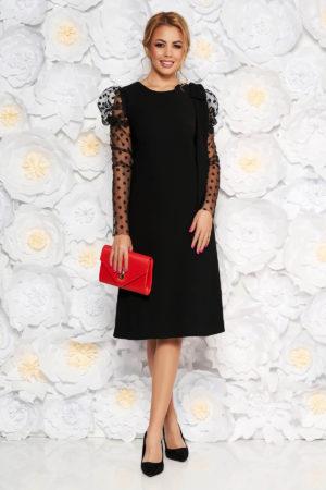 Rochie midi neagra de seara cu croiala larga si maneci lungi transparente prentru femei plinute