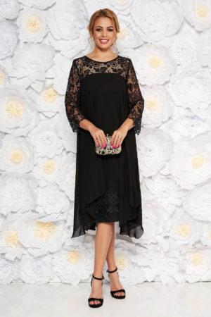 Rochie de ocazie midi neagra din voal cu un croi drept cu maneci din dantela pentru femei plinute