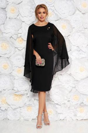 Rochie de seara neagra midi pana la genunchi din stofa subtire cu suprapunere din voal lejer
