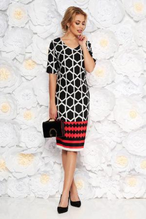 Rochie de zi neagra cu imprimeu geometric intr-o croiala tip creion realizata din stofa fina vaporoasa
