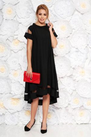 Rochie asimetrica neagra de seara eleganta cu croi larg si maneci scurte pentru femei plinute