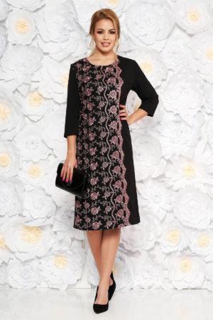Rochie midi neagra eleganta cu croiala dreapta si aplicatii de dantela pentru femei plinute