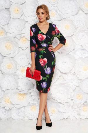 Rochie midi eleganta pana la genunchi neagra cu imprimeuri florale colorate si maneci trei sferturi