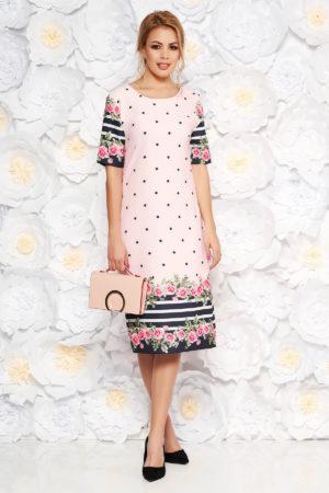 Rochie de zi midi roz cu imprimeu floral cu buline cu un croi drept pentru femei plinute