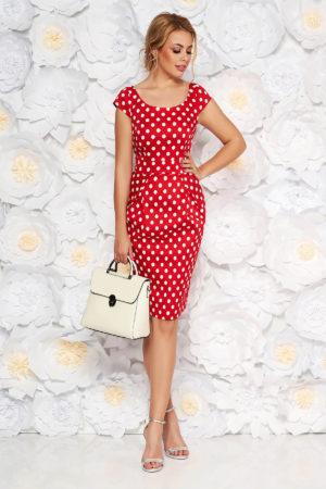 Rochie de zi rosie cu buline mici albe intr-o croiala casual din bumbac elastic si decolteu rotund
