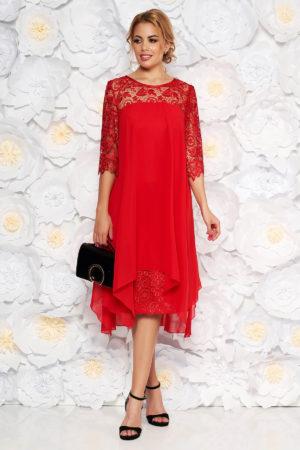 Rochie de ocazie midi rosie din voal cu un croi drept cu maneci din dantela pentru femei plinute