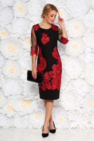 Rochie de nunta neagra cu broderie florala rosie prevazuta cu maneci transparente pentru femei plinute