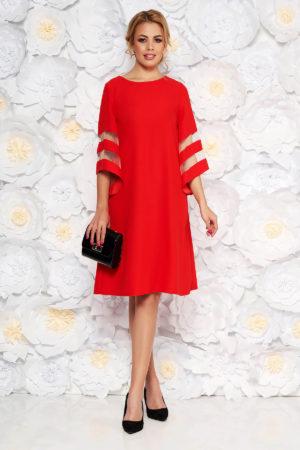 Rochie midi rosie eleganta cu croiala lejera si maneci largi pentru siluete plus size