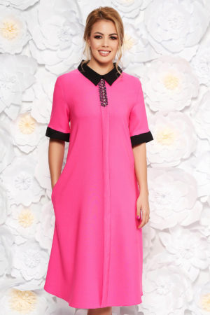 Rochie midi roz eleganta midi cu croi larg si aplicatii cu margele pentru femei plinute