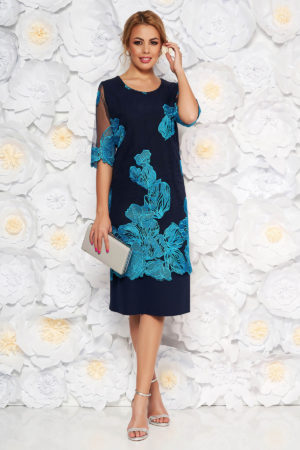 Rochie de nunta bleumarin cu broderie florala turcoaz prevazuta cu maneci transparente pentru femei plinute