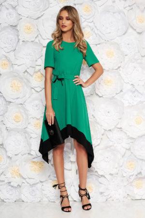 Rochie eleganta verde asimetrica de ocazie cu maneca scurta si cordon discret in talie