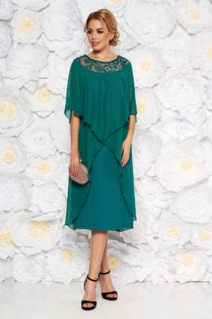 Rochie de ocazie verde eleganta dreapta din stofa cu suprapunere din voal ideala pentru femei plinute