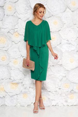 Rochie midi verde de nunta accesorizata cu suprapunere vaporoasa din voal de matase pentru femei plinute